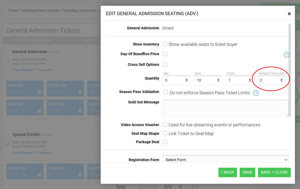 Timed Ticket Transaction Limit