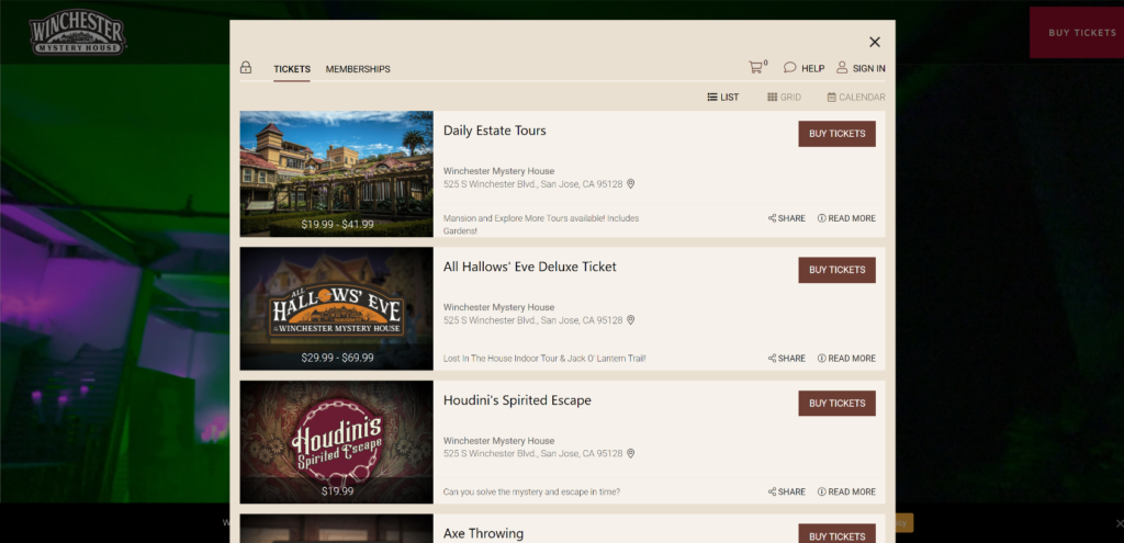 winchester mystery house website